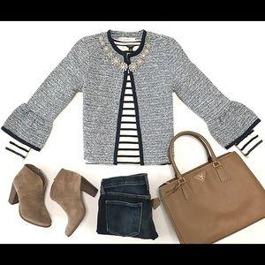 LOFT knit tweed bell sleeve Fresh Navy
